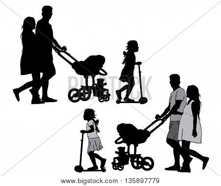 Family with baby and pram on a walk. Man woman and children. Silhouettes on a white background.