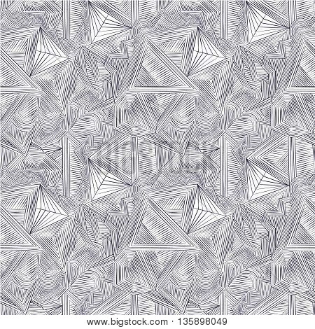 Simple abstract pattern. Vector hand drawn seamless patterns with ornate triangles