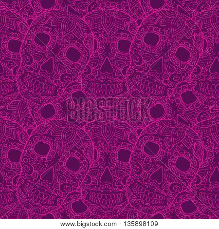 Colorful skulls seamless pattern. Vector vivid collection with skull.