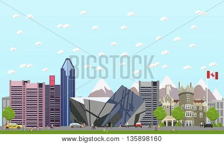 Travel to Canada concept vector illustration. Canadian landmarks and destinations.
