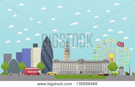Travel to England concept vector illustration. London city landscape. England landmarks and destinations.