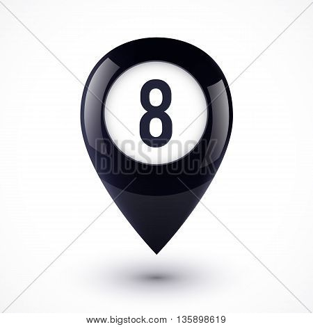 Black lucky map point in magic 8 ball style