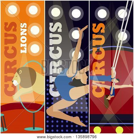 Vector set of circus concept banners. Acrobats and artists perform show in arena. Circus interior. Animals show and performance.