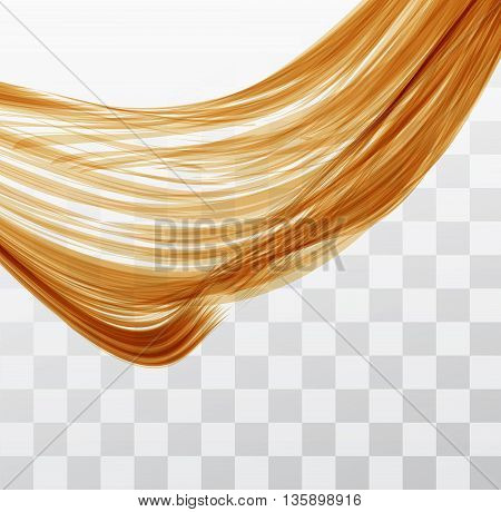 Closeup of long human hair with tilt shift effects. Vector illustraion on chekered background