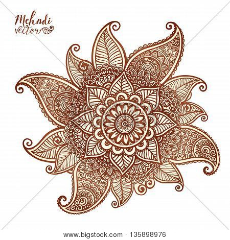 Vector floral element in Indian mehndi henna tattoo style