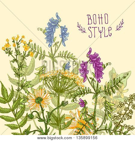 Beautiful hand drawn illustration boho flowers. Flowers for boho-style  wedding invitations, boho prints. Decorative floral illustration with wildflowers.