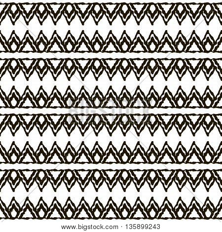 Seamless black and white pattern with ethnic motifs. Horizontal stripes and triangular elements. Abstract geometric ornament in hand drawing style. Vector illustration for modern design