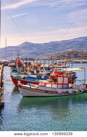 SITIA GREECE - MAY 04 2015: Boats berthed at the sea port town of Sitia on the Greek island of Crete.