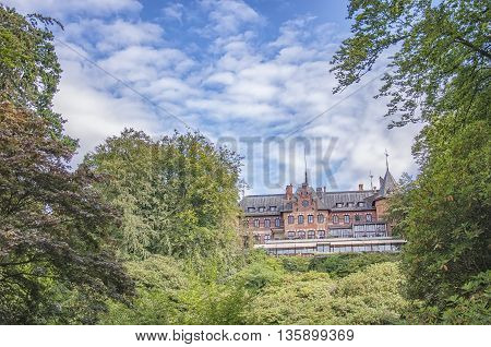 HELSINGBORG SWEDEN - AUGUST 28 2015: Sofiero slott is a castle in Helsingborg Municipality Scania in southern Sweden. The castle holds a garden festival in it's huge grounds every year.