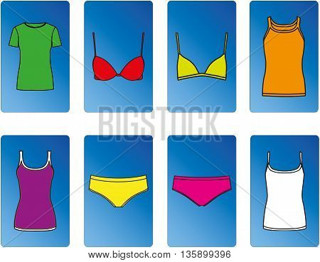 Colourful kit of tops and underwear. Easy to move, resize and change color