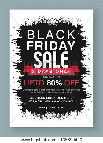 Black Friday Sale, Sale Poster, Sale Banner, Sale Flyer, 3 Days Sale Only, Upto 80% Off, Abstract Sale Typographical Background, Creative vector illustration.