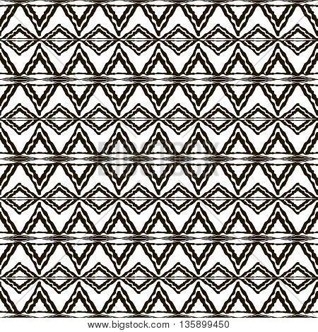 Seamless black and white pattern with ethnic motifs. Horizontal stripes, triangular and rhomboid shapes. Abstract geometric ornament in hand drawing style. Vector illustration for modern design