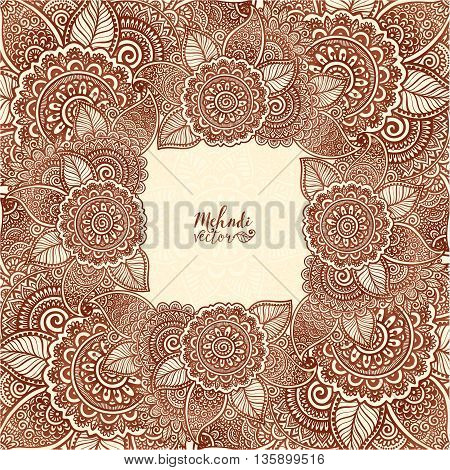 Brown henna colors vector floral square frame in Indian mehndi henna tattoo style