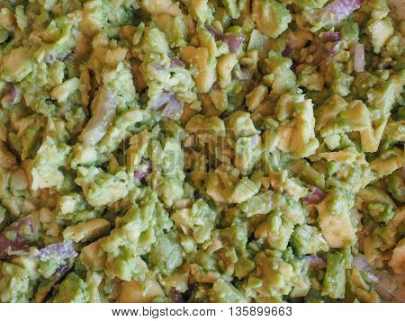 Guacamole avocado based dip created by the Aztecs in Mexico