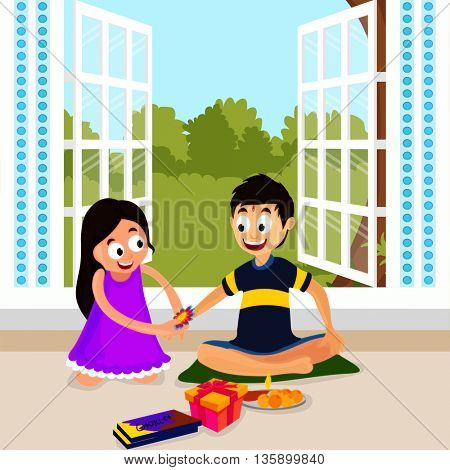 Cute little sister tying Rakhi to her brother's wrist on creative nature view background, Concept for Indian Festival, Happy Raksha Bandhan celebration.