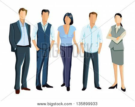 five businesspeople and employees stand together, llustration