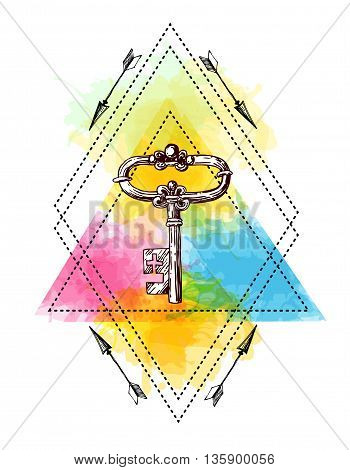 Hand drawn illustration key. Sketch of key. Tattoo style key on the watercolor background. Use for boho poster or T-shirt.