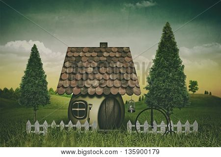 Beauty farmland and house. Abstract fairy tale backgrounds. Retro style with grungy texture for your design, not 3D rendered