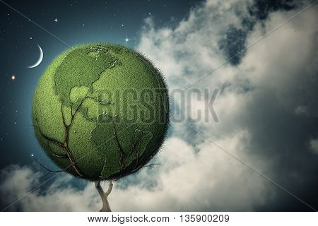 Under the night skies. Earth tree abstract environmental backgrounds for your design, not 3D rendered