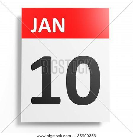 Calendar On White Background. 10 January.