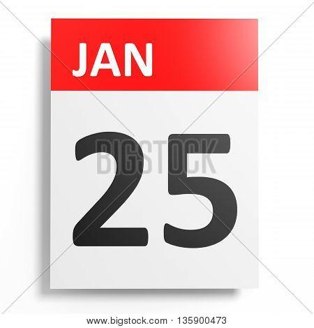 Calendar On White Background. 25 January.
