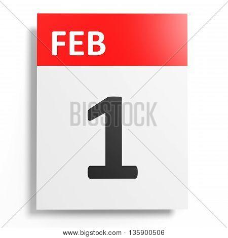 Calendar On White Background. 1 February.