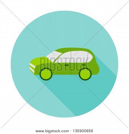 Car flat circle icon. Vector illustration of eco car on green.