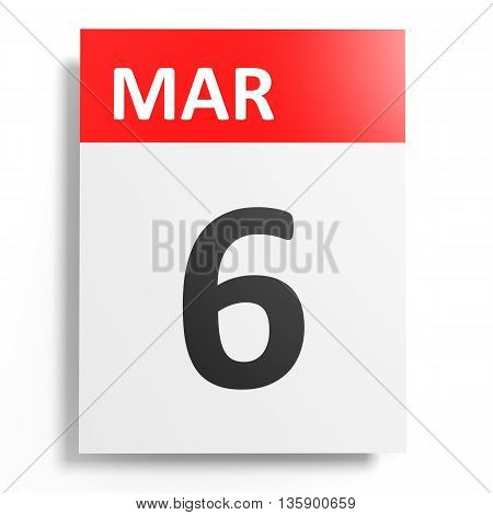 Calendar On White Background. 6 March.