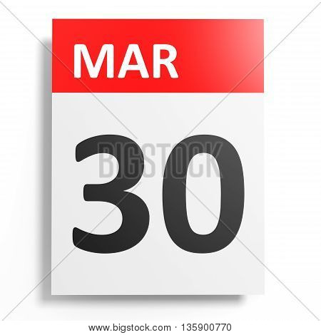 Calendar On White Background. 30 March.