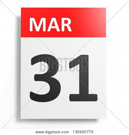 Calendar On White Background. 31 March.