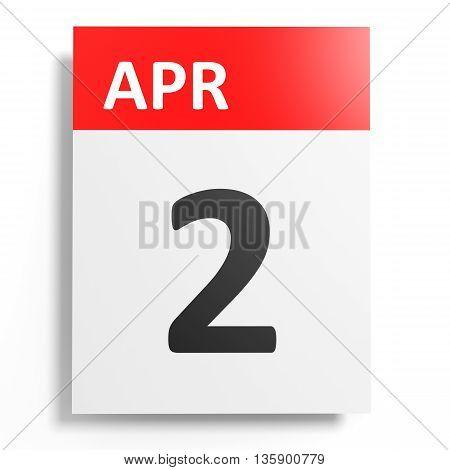 Calendar On White Background. 2 April.