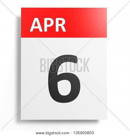 Calendar On White Background. 6 April.