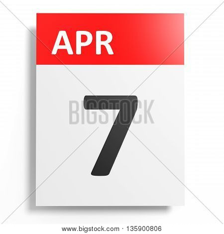 Calendar On White Background. 7 April.
