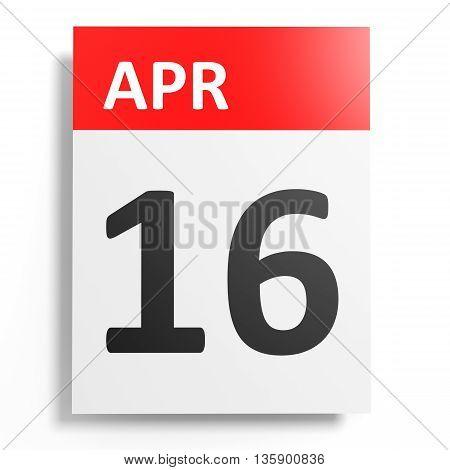 Calendar On White Background. 16 April.