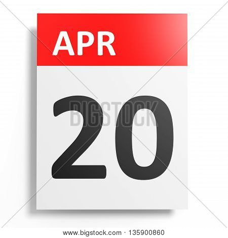 Calendar On White Background. 20 April.