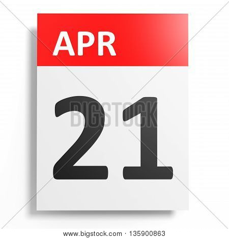 Calendar On White Background. 21 April.