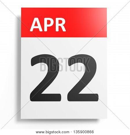 Calendar On White Background. 22 April.