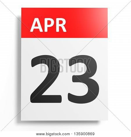 Calendar On White Background. 23 April.