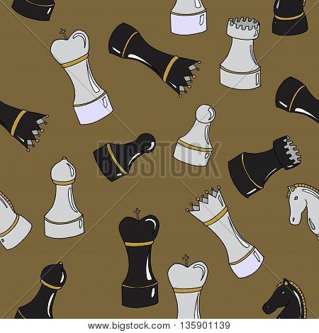 Set of chess. International Chess day. Hand drawn vector stock illustration. Seamless background pattern.