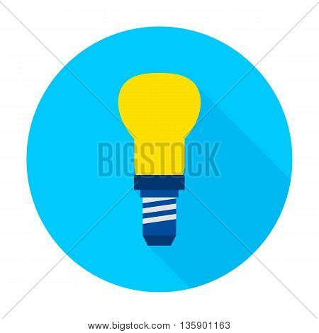Lamp flat circle icon. Vector illustration of electrical symbol on blue.