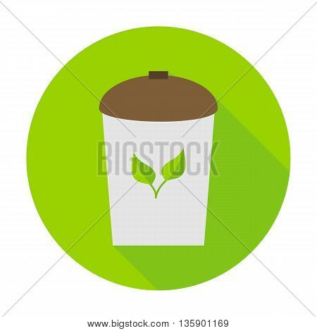 Rubbish bin eco flat circle icon. Vector illustration of rubbish bin on the green.