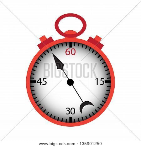 Stopwatch isolated over white. Vector illustration of