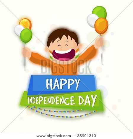 Cute Happy Boy holding Tricolor Balloons, Celebrating and enjoying on occasion of Happy Indian Independence Day.