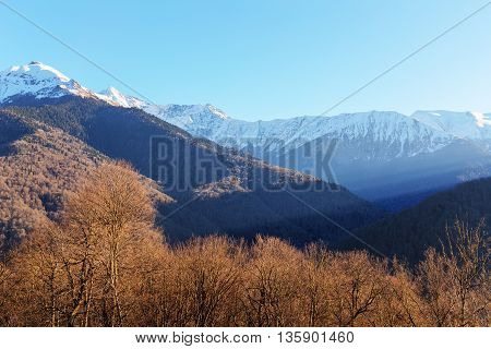 landscape in the Caucasus mountains on a sunny day
