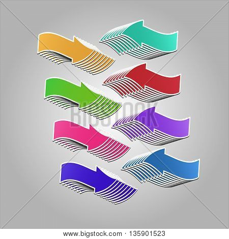 Colorful arrows pointing at each other. Vector arrows created with blend feature.