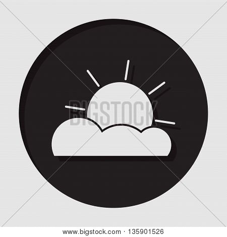 information icon - dark circle with white partly cloudy and shadow