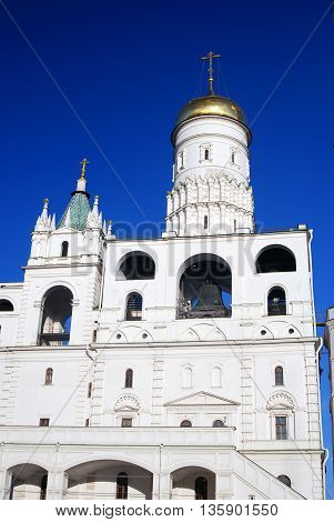 Ivan Great bell tower of Moscow Kremlin. UNESCO World Heritage Site. Color photo.