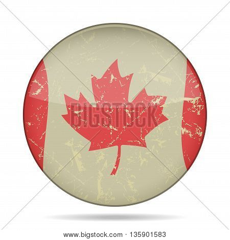 button with waving national flag of Canada and shadow - grunge style