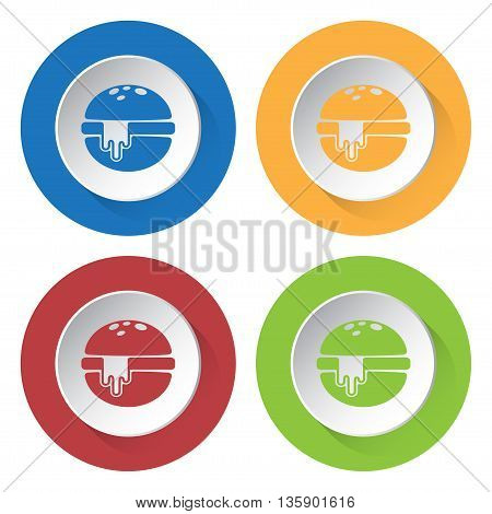 set of four colored icons - hamburger with melted cheese
