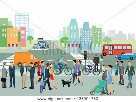 Groups of People on the street, city, road, traffic